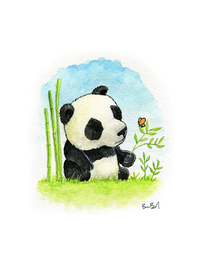 Little Panda Bear Watercolor Print