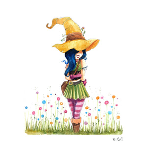 Magical Flower Witch Watercolor Print