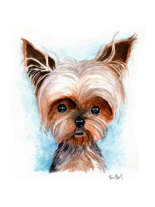 Yorkshire Terrier Watercolor Print