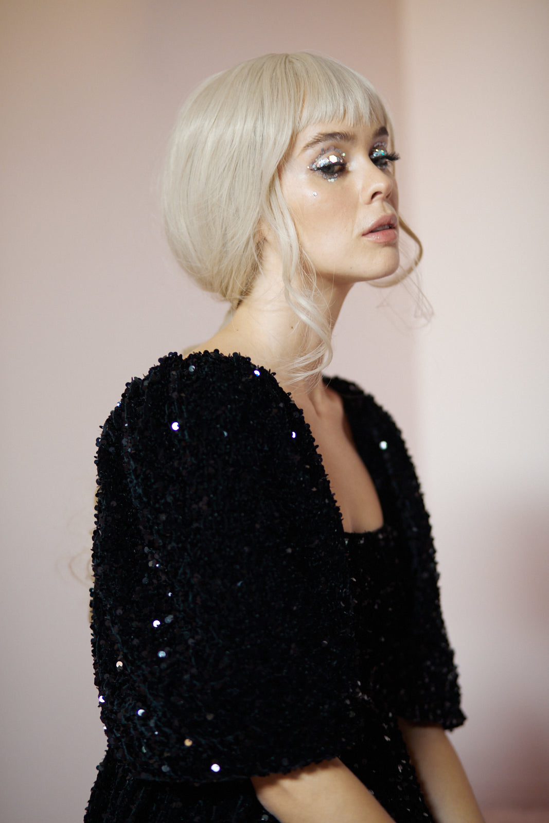 The Black Sequin Puff Dress
