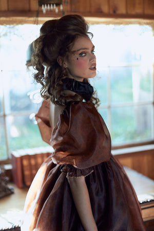 The Chocolate Lace Puff Dress