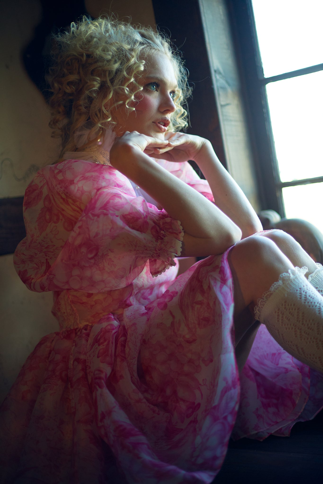 The Babydoll Toile Lace Puff Dress