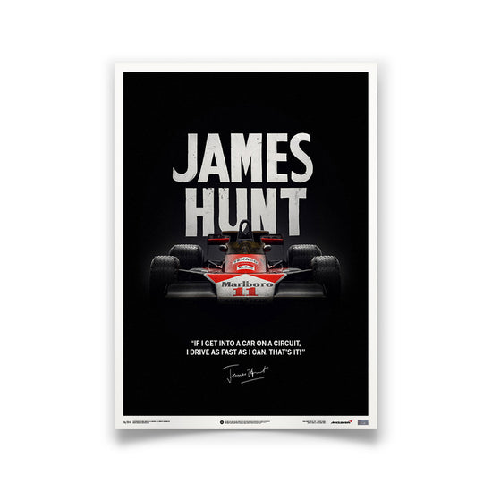 McLaren M23 James Hunt 1976 F1 World Championship Winner - Quote Print