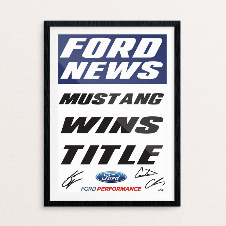 """Mustang Wins Title"" Limited Edition Framed And Signed Poster"
