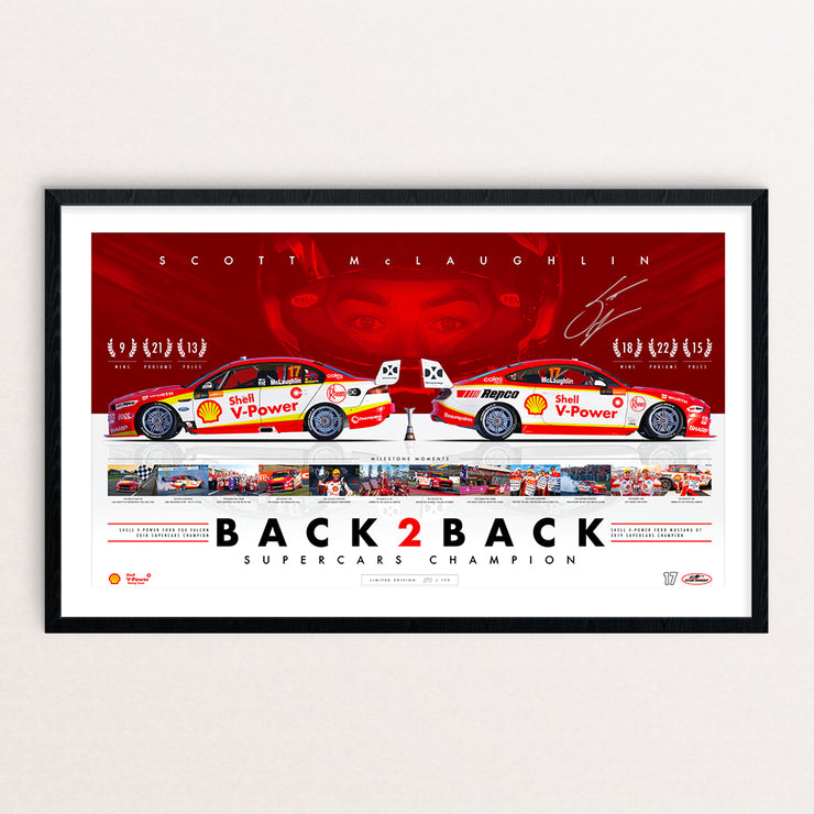 Shell V-Power Racing Team Scott McLaughlin 'Back 2 Back Supercars Champion' Framed and Signed Limited Edition Print