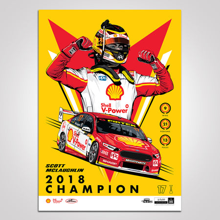 Shell V-Power Racing Team 'Scott McLaughlin 2018 Champion' Illustrated Print - Variant Edition