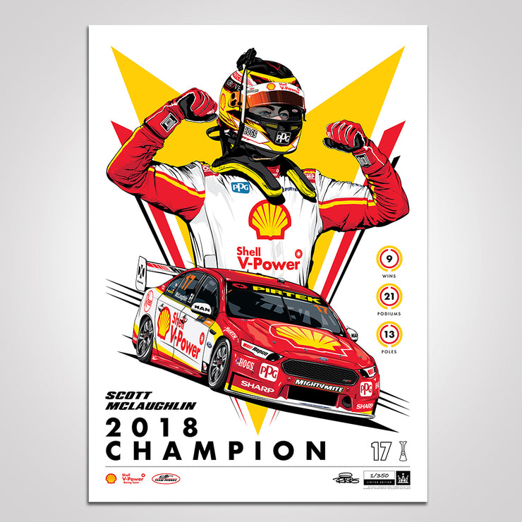 Shell V-Power Racing Team 'Scott McLaughlin 2018 Champion' Illustrated Print - Standard Edition