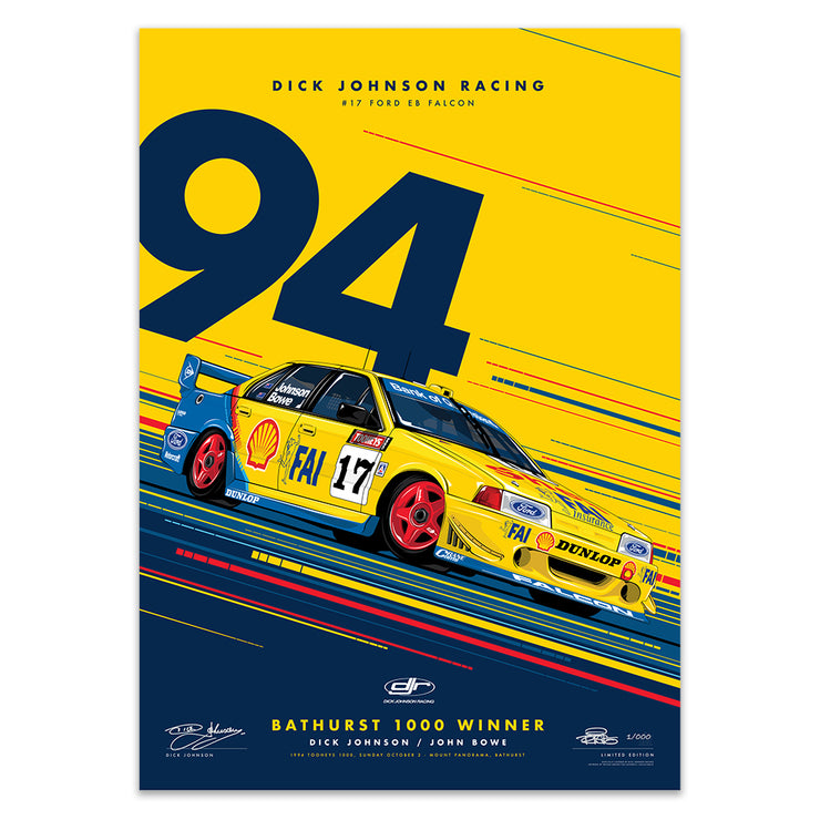 Dick Johnson Racing Ford EB Falcon 1994 Bathurst 1000 Winner - Yellow Edition Print