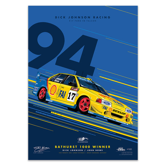 Dick Johnson Racing Ford EB Falcon 1994 Bathurst 1000 Winner - Metallic Blue Edition Print