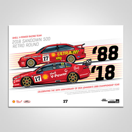 Shell V-Power Racing Team 2018 Sandown 500 Retro Round #17 Sierra/Falcon Print