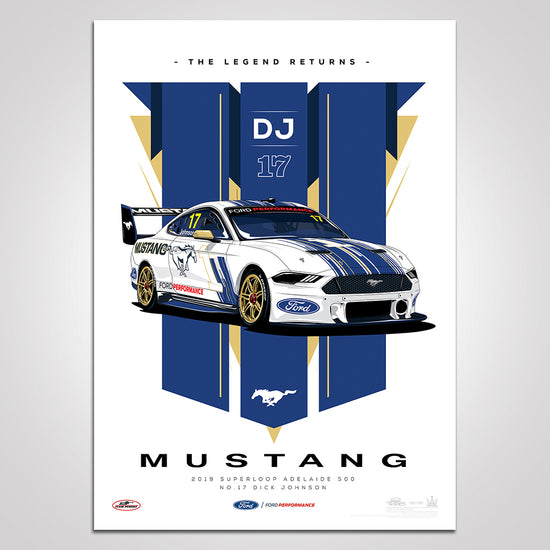 The Legend Returns: 2019 Superloop Adelaide 500 #17 Dick Johnson Mustang Illustrated Print