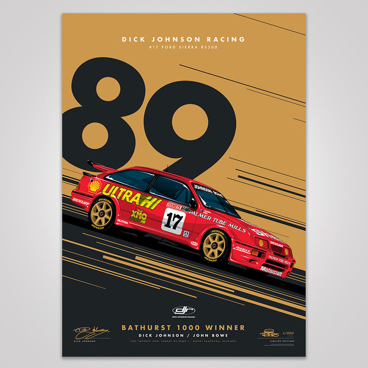 Dick Johnson Racing Ford Sierra RS500 1989 Bathurst 1000 Winner - Metallic Gold Limited Edition Signed Print (Pre-Order)