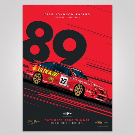 Dick Johnson Racing Ford Sierra RS500 1989 Bathurst 1000 Winner - Red Limited Edition Signed Print (Pre-Order)