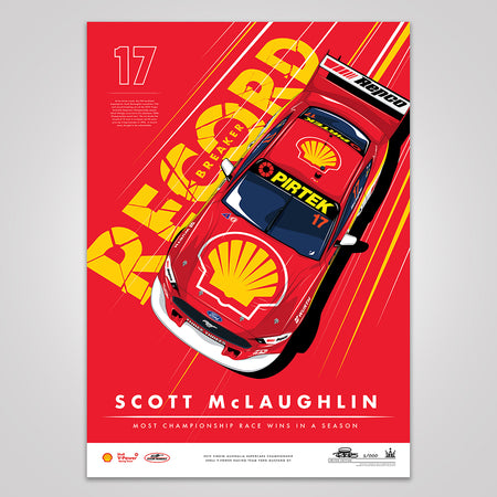 Record Breaker: Scott McLaughlin Most Championship Race Wins In A Season Print - Red Limited Edition
