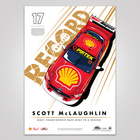 Record Breaker: Scott McLaughlin Most Championship Race Wins In A Season Print - Metallic Gold Limited Edition (Pre-Order)