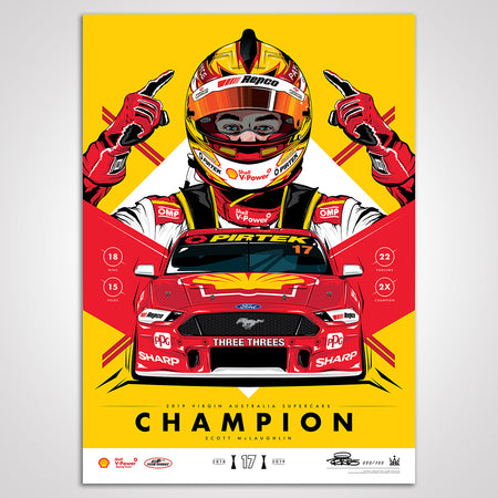 Shell V-Power Racing Team 'Scott McLaughlin 2019 Champion' Illustrated Print - Variant Edition (Pre-Order)