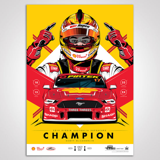 Shell V-Power Racing Team 'Scott McLaughlin 2019 Champion' Illustrated Print - Variant Edition