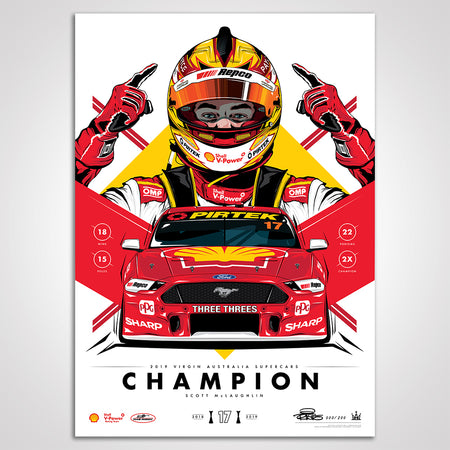 Shell V-Power Racing Team 'Scott McLaughlin 2019 Champion' Illustrated Print - Standard Edition