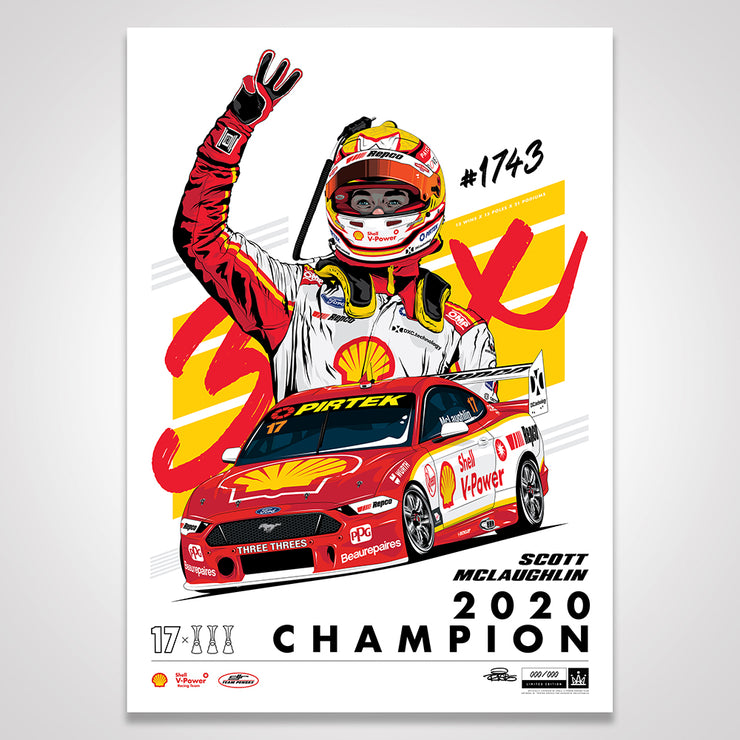 Shell V-Power Racing Team 'Scott McLaughlin 2020 Champion' Illustrated Print - Standard Edition