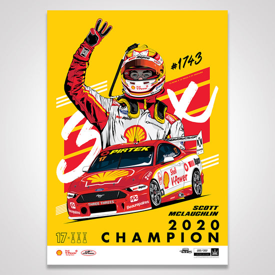 Shell V-Power Racing Team 'Scott McLaughlin 2020 Champion' Illustrated Print - Variant Edition (Pre-Order)