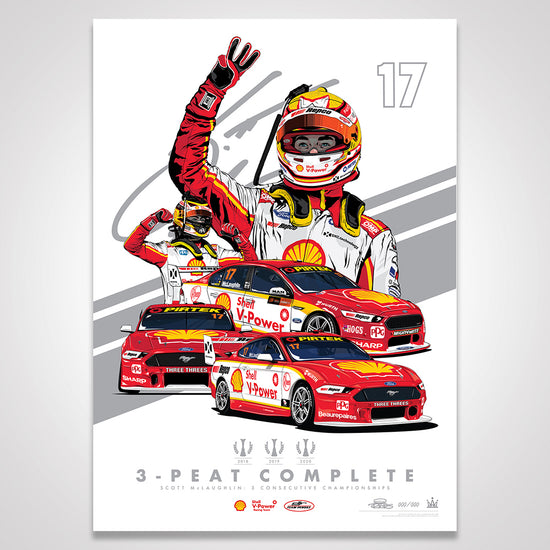 Shell V-Power Racing Team Scott McLaughlin '3-Peat Complete' Metallic Silver Illustrated Print (Pre-Order)