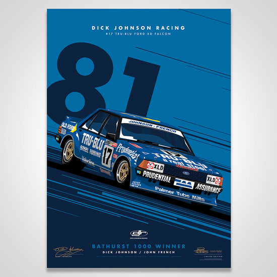 Dick Johnson Racing Tru-Blu Ford Falcon XD 1981 Bathurst 1000 Winner - Blue Limited Edition Signed Print (Pre-Order)