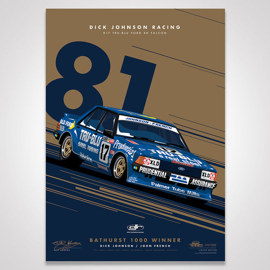 Dick Johnson Racing Tru-Blu Ford Falcon XD 1981 Bathurst 1000 Winner - Metallic Gold Limited Edition Signed Print (Pre-Order)