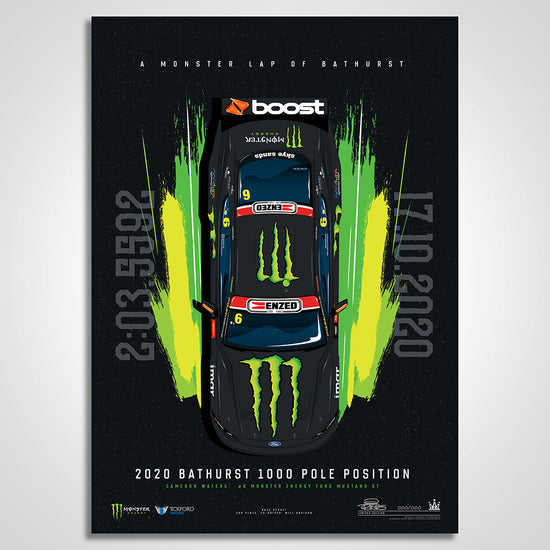 A Monster Lap Of Bathurst: Cameron Waters 2020 Bathurst 1000 Pole Limited Edition Illustrated Print (Pre-Order)