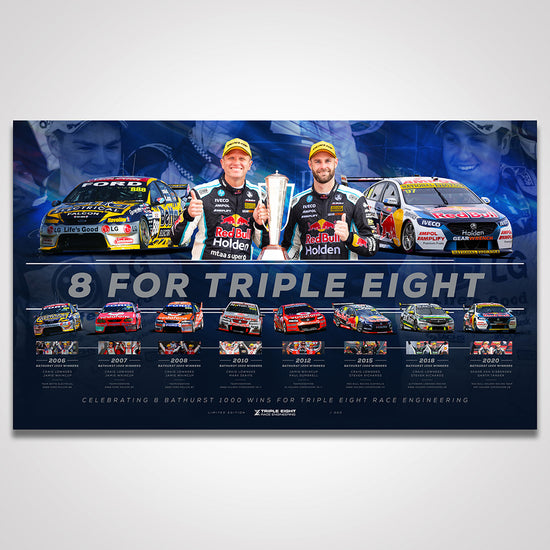 Triple Eight Race Engineering '8 For Triple Eight' Bathurst 1000 Wins Limited Edition Print (Pre-Order)