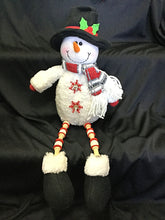 Snowman Doll  w/ Thread Spool Legs Red and White