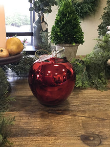 Mirror Painted Green Pear or Red Apple Specialty Ornament Teacher's Christmas Gift