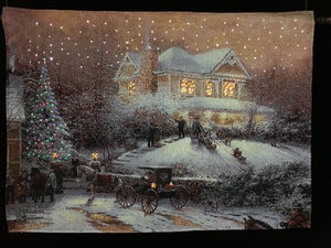 "Thomas Kinkade ""Kids Sledding on the Hill"""