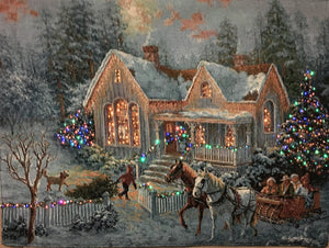 "(11)""Welcome Home"" Fiber Optic lighted Wall Tapestry"