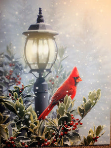 Christmas Cardinal with Holly