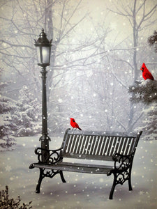Christmas Cardinals with Park Bench and Light Post