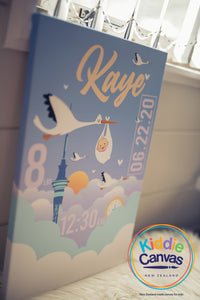 11. Auckland and Stork (personalized) artwork - KIDS CANVAS - by Arts of Hero