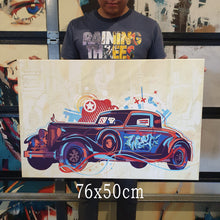 Vintage car graffiti. artwork Collab by art of Hero + Chanman