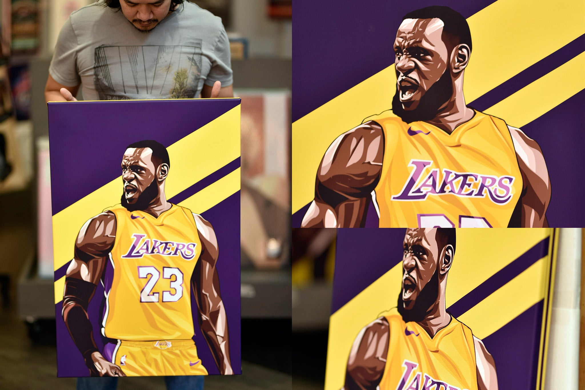 promo code 5a03e 35af8 Lebron James Artwork Printed On Museum Quality Canvas - Art ...