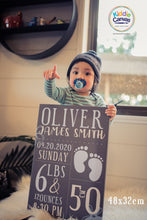 37.  Baby stats boy (personalized) artwork - KIDS CANVAS - by Code Zero Studios