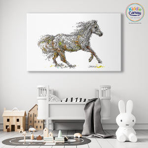 63. Floral Horse artwork - KIDS CANVAS - by Nelver Art