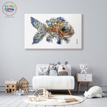 64. Floral Fish artwork - KIDS CANVAS - by Nelver Art