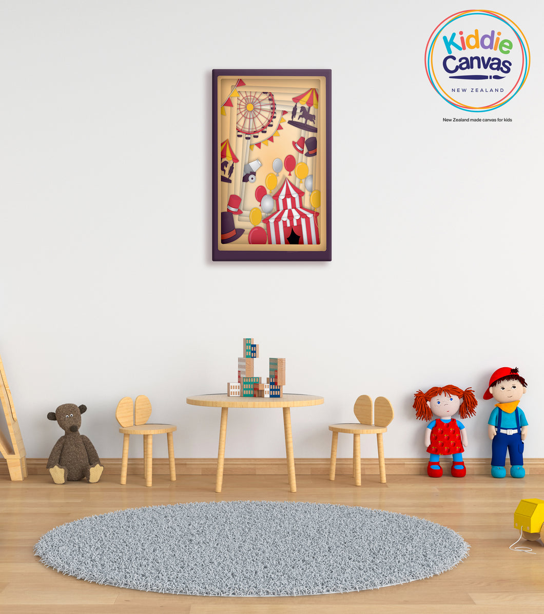54. Papercut Carnival artwork - KIDS CANVAS - by Mina Crafts