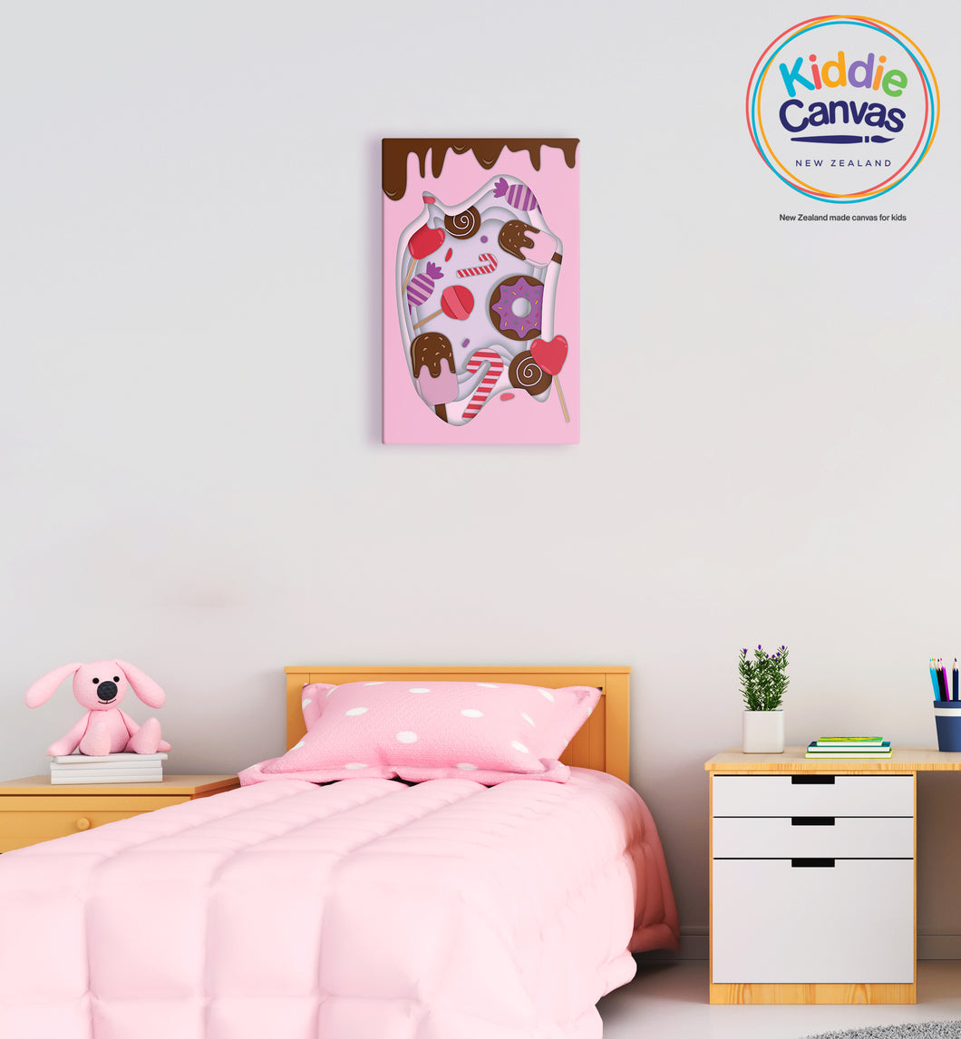 41. Papercut Sweets artwork - KIDS CANVAS - by Mina Crafts