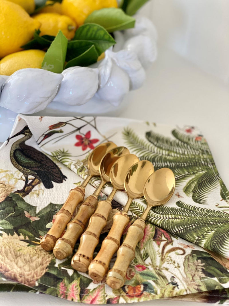 Real Bamboo Teaspoons Gold - Set of 6