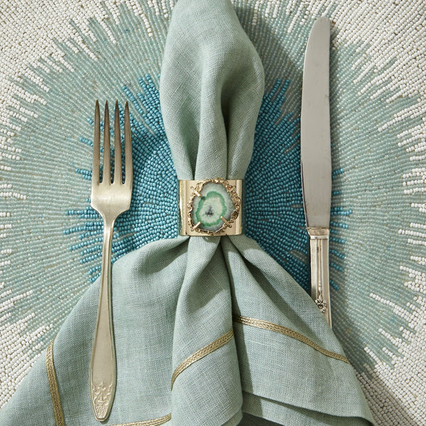 ''Seafoam'' Crystal Quartz Napkin Rings - Set of Two