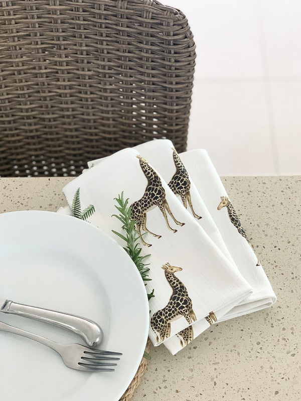 Giraffe Palm - Linen Napkins Set of 4