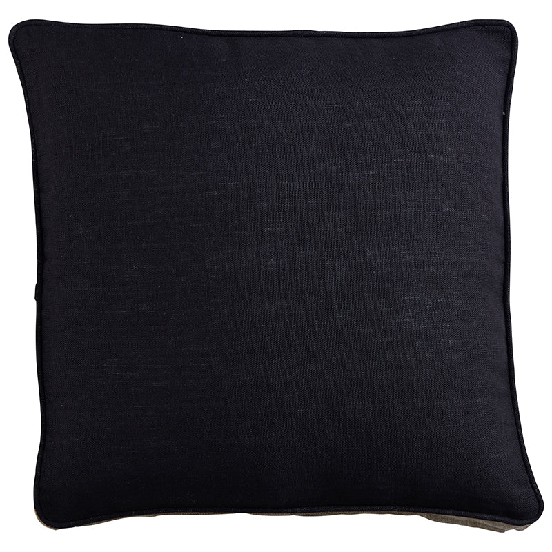 Black Linen Gusset Cushion 50 x 50 x 6cm