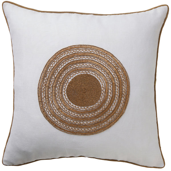 Copper Beaded Luxe Linen Cushion 50x50cm