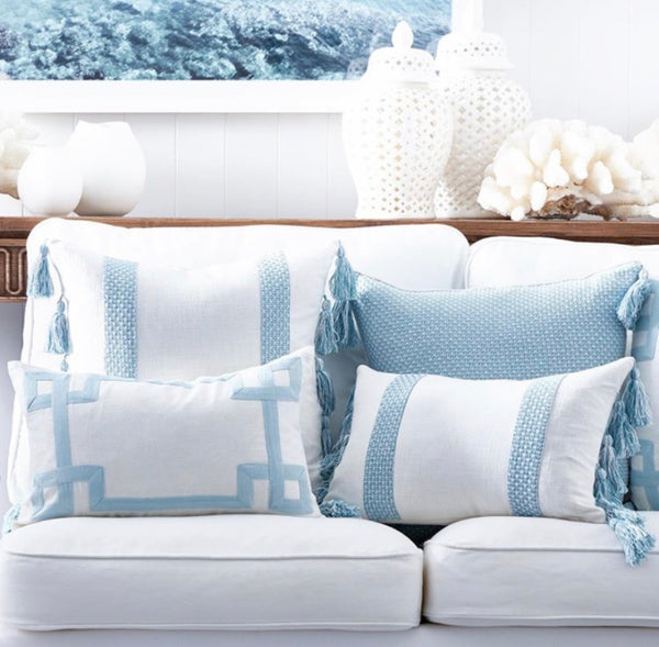 Coastal Sky Blue Linen Cushion 30x50cm