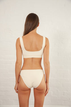 Cream Ribbed Movement Swim Brief